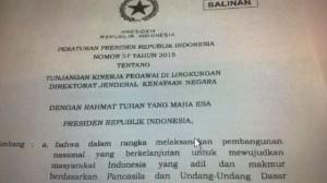 Foto mirip perpres yang konon merupakan Peraturan Presiden Nomor 57 Tahun 2015.