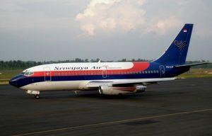 Pesawat maskapai Sriwijaya Air di Bandara HAS Hanandjoeddin, Tanjungpandan-Belitung.