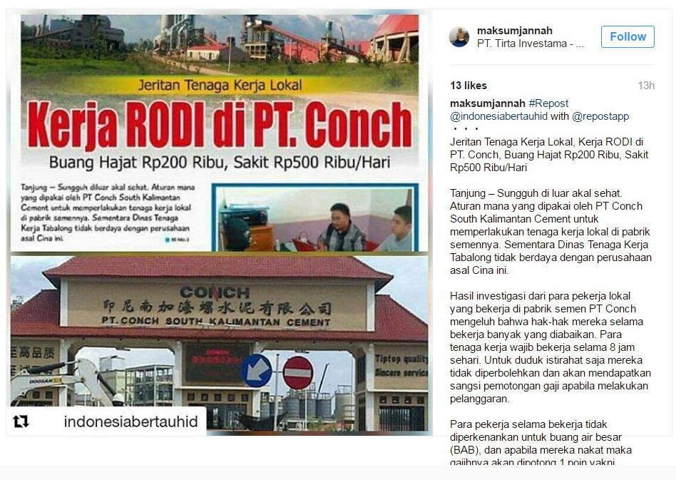 Kerja Rodi di PT Conch South Kalimantan Cement